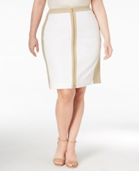 Calvin Klein Plus Size Colorblocked Zip Front Pencil Skirt White