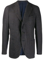 Caruso Houndstooth Suit Jacket Blue