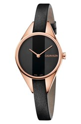 Calvin Klein Rebel Leather Band Watch 29Mm Black Rose Gold