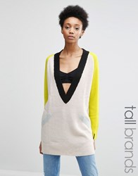 Noisy May Tall Colour Black V Neck Jumper Multi
