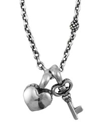 Kinder Sterling Silver Heart And Key Charm Necklace Silver Lagos