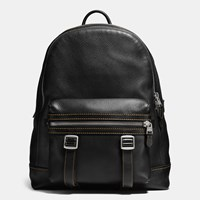 Coach Flag Backpack In Pebble Leather Black Black