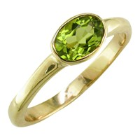 Ewa 9Ct Yellow Gold Oval Ring Peridot