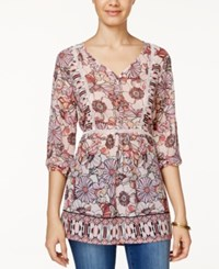 American Rag Printed Crochet Trim Tunic Top Only At Macy's Pink Multi