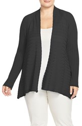 Plus Size Women's Eileen Fisher Ribbed Tencel Short Cardigan Black