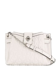 Karl Lagerfeld Twist Lock Quilted Detail Tote Bag White