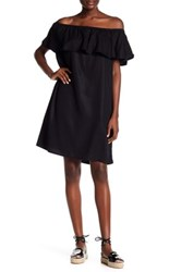 Beach Lunch Lounge Off The Shoulder Twill Dress Black