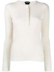 Tom Ford Ribbed Cashmere Sweater White