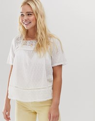 Only Broderie Square Neck Top Cream