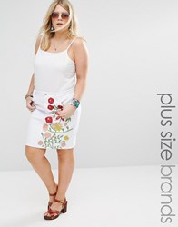 Alice And You Denim Aline Skirt With Floral Embroidery White