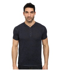 John Varvatos Short Sleeve Snap Eyelet Henley Knit W Rib Neck Trim Blue Heather Men's Clothing