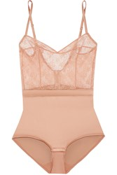 Eres Charivari Stretch Lace And Silk Blend Satin Bodysuit Antique Rose