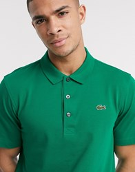 Lacoste Sport Ribbed Texture Polo In Green