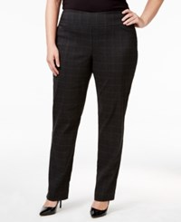 Charter Club Plus Size Tummy Control Plaid Pull On Pants Only At Macy's Heather Grey