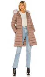 Add Hooded Down Coat With Fur Border In Mauve.