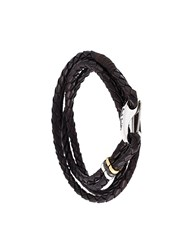 Paul Smith Braided Leather Bracelet Brown