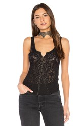 Free People Piece Dye Pucker Lace Cami Black
