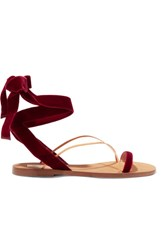 Valentino Velvet And Leather Sandals Claret