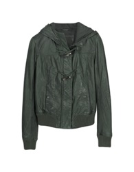 Forzieri Green Hooded Leather Jacket