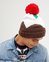 New Look Christmas Pudding Beanie In Brown Multi