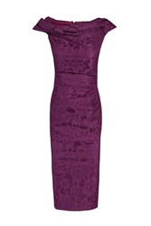 Jolie Moi Twisted Bardot Neckline Shift Dress Dark Purple