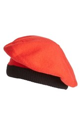 Kate Spade Women's New York Contrast Bow Beret Red Persimmon Grove Black