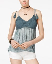 American Rag Juniors' Printed Crochet Trim Swing Tank Top Only At Macy's Blue Grey