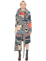 Missoni Multicolor Wool Slub Knit Long Cardigan