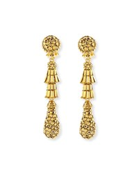 Golden Tiered Baguette Teardrop Earrings Gold Jose And Maria Barrera