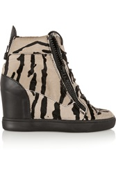 Giuseppe Zanotti Tiger Print Calf Hair And Leather Wedge Sneakers Black