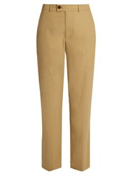 Isabel Marant Licia Straight Leg Cotton Poplin Trousers Beige