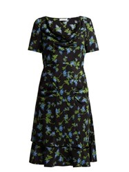 Altuzarra Lucia Floral Print Silk Crepe Dress Black Multi