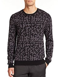 Saks Fifth Avenue Camouflage Crewneck Sweater Black Camo