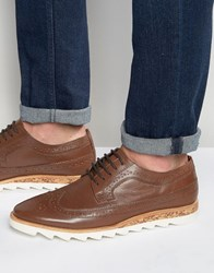 Asos Brogue Shoes In Tan Leather With White Sole Brown