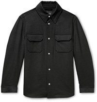 Dunhill Padded Wool Mulberry Silk And Cashmere Blend Overshirt Gray
