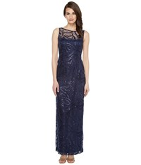 Tahari By Arthur S. Levine Sequin Embroidered Gown Navy Women's Dress
