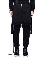 Unravel Hoodie Overlay Drop Crotch Knit Pants Black
