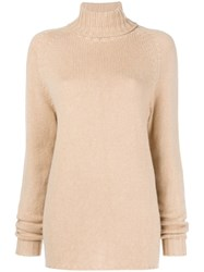 Ma'ry'ya Knitted Turtleneck Jumper Nude And Neutrals