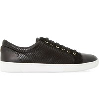 Dune Edgware Snakeskin Print Trainers Black Synthetic Reptile