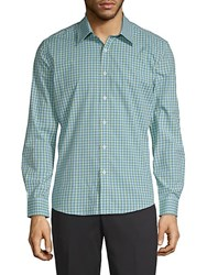 Hyden Yoo Plaid Cotton Button Down Shirt Aqua