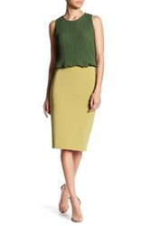 Catherine Malandrino Exposed Zipper Slim Skirt Green
