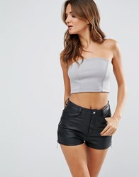 Twin Sister Tube Crop Top Grey