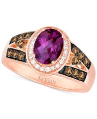 Le Vian Chocolatier Rhodolite Garnet 1 1 2 Ct. T.W. And Diamond 3 8 Ct. T.W. Ring In 14K Rose Gold Red