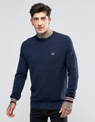 Fred Perry Jumper In Pique With Crew Neck In Vintage Navy Marl Vin Ny Ml