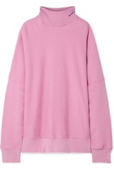 Calvin Klein 205W39nyc Oversized Embroidered Distressed French Cotton Terry Turtleneck Sweatshirt Baby Pink