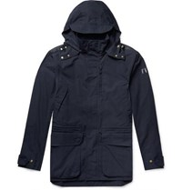The Workers Club Cotton Canvas Hooded Jacket Navy