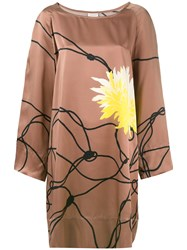 Dries Van Noten Rope Print Dress Brown