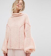 Oneon Hand Knitted Soft Cable Jumper Light Pink