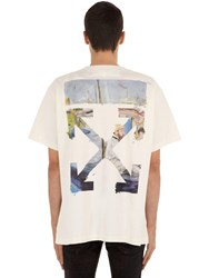Off White Printed Arrow Cotton Jersey T Shirt Off White