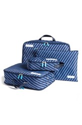 Flight 001 Spacepak Packing Compression Bag Set Blue Mailstripe Indigo